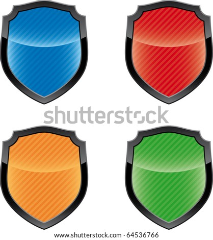 Glossy empty shield emblems  (icon set)