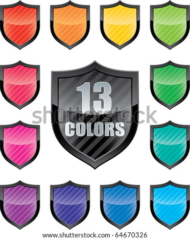 Glossy empty shield (icon set of 13 colors icon with copy-space)