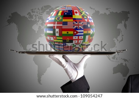 Glossy Flag Globe with different country flags