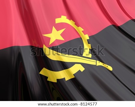 Glossy Flag of Angola. The glossy surface of the flag, reflects the ambience.
