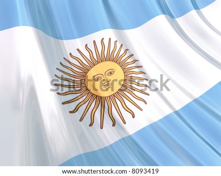 Glossy Flag of Argentina. The glossy surface of the flag, reflects the ambience.