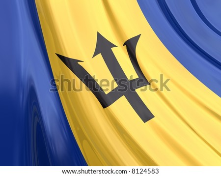 Glossy Flag of Barbados. The glossy surface of the flag, reflects the ambience.