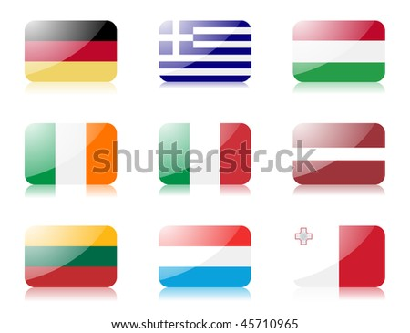 Glossy flags. Set one of flags from European union. 1st row: Germany, Greece, Hungary 2nd row: Ireland, Italy, Latvia 3rd row: Lithuania, Luxembourg, Malta