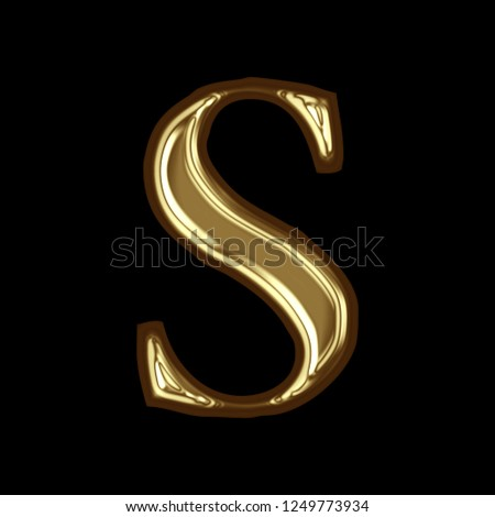 8c0bb3055150 Glossy golden metallic letter S in a 3D illustration with a bright smooth shiny  gold metal
