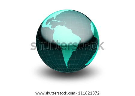 Glossy green globe  with geographical grid facing South America - stock photo