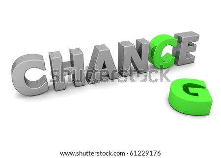 glossy grey word CHANCE with the green letter C and a laying green letter G