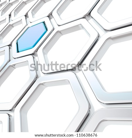 Glossy hexagon segments made of chrome metal and blue plastic element as abstract copyspace background