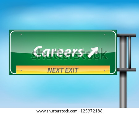 Glossy highway sign with Careers text on a blue background.