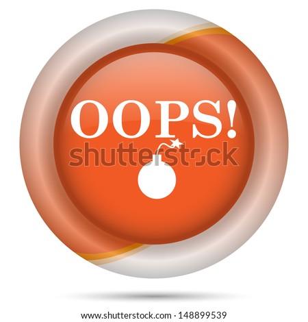 Glossy icon with white design on orange plastic background
