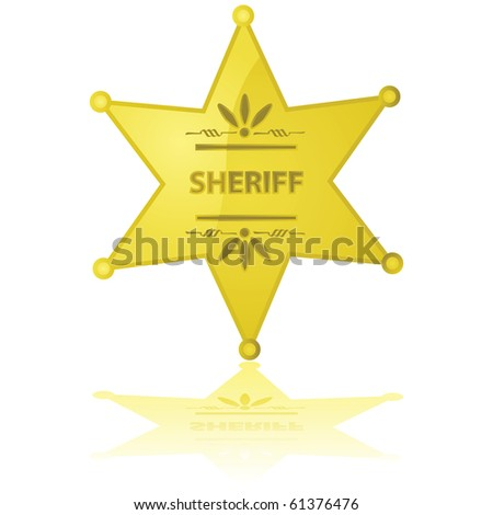 Glossy illustration of a golden sheriff star reflected on a white background