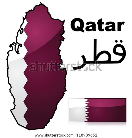 Glossy illustration showing a map of Qatar with the flag of the country