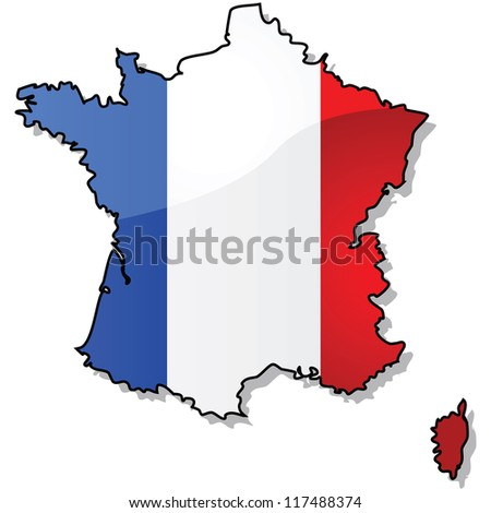 Glossy illustration showing the map of France with the country's flag superimposed over it.