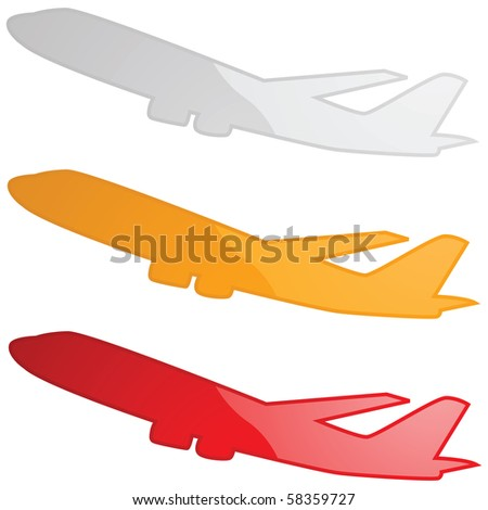 Glossy jpeg illustration of an airplane in three different colors