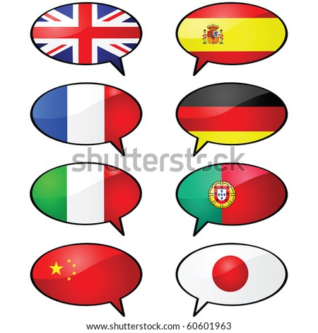 Glossy jpeg illustration of several cartoon talk balloons, with different flags representing different languages