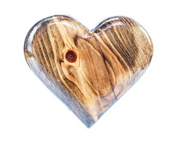 glossy laked vintage wood heart isolated on white