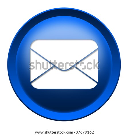 Glossy mail envelope icon button isolated over white background
