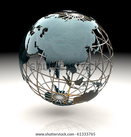 Glossy metallic globe continents on a metal grid facing Asia