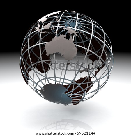 Glossy metallic globe continents on a metal grid facing Australia