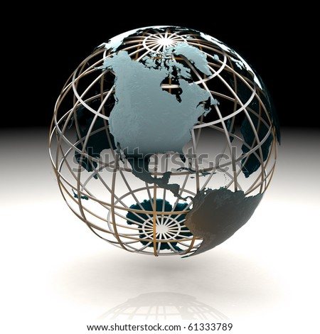 Glossy metallic globe continents on a metal grid facing North America