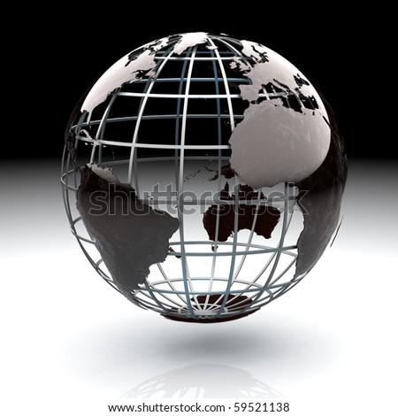 Glossy metallic globe continents on a metal grid facing the Atlantic Ocean