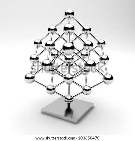glossy molecules  Silver - stock photo