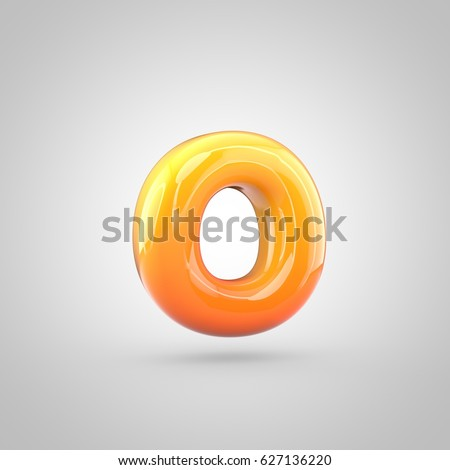 Glossy orange and yellow gradient paint alphabet letter O lowercase. 3D render of bubble twisted font with glint isolated on white background.