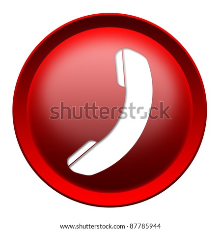 Glossy phone icon button isolated over white background