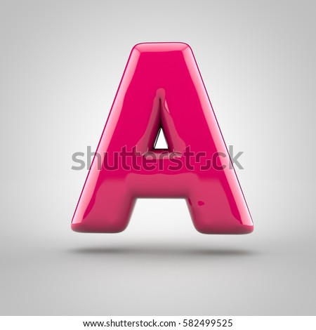 Glossy pink paint letter A uppercase. 3D render of bubble font with glint isolated on white background.