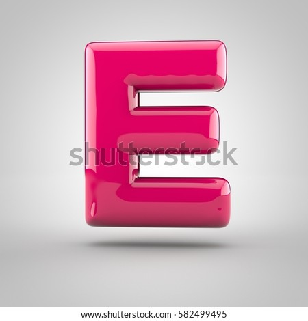 Glossy pink paint letter E uppercase. 3D render of bubble font with glint isolated on white background.
