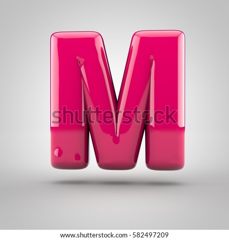 Glossy pink paint letter M uppercase. 3D render of bubble font with glint isolated on white background.