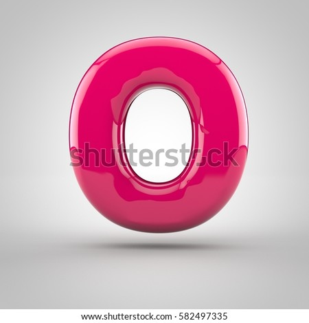 Glossy pink paint letter O uppercase. 3D render of bubble font with glint isolated on white background.