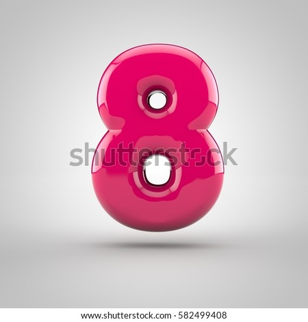 Glossy pink paint number 8. 3D render of bubble font with glint isolated on white background.