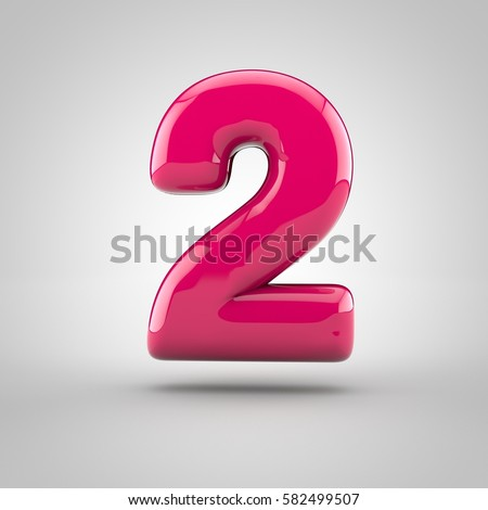 Glossy pink paint number 2. 3D render of bubble font with glint isolated on white background.