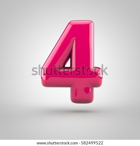 Glossy pink paint number 4. 3D render of bubble font with glint isolated on white background.