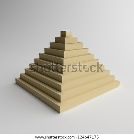 Glossy Pyramid on Grey Background