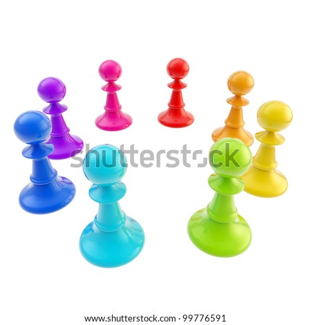Glossy rainbow colored chess pawns stand in a circle isolated on white