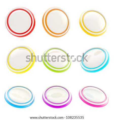 Glossy rainbow colored plastic round buttons, set of nine isolated on white