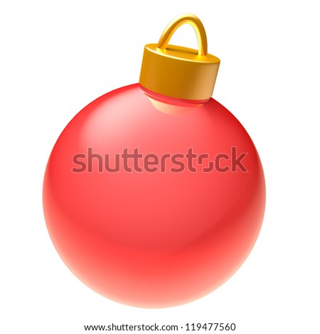 Glossy red 3D Christmas ball isolated on white background