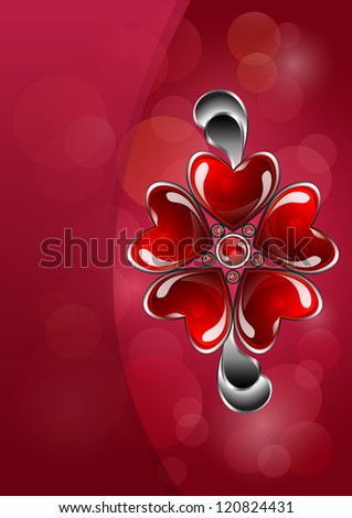 Glossy red flower with petals in shape of hearts, jewelry greeting card for valentines day. Vector version available in my portfolio