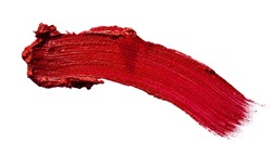 Glossy red lipstick stain swatch isolated on white background