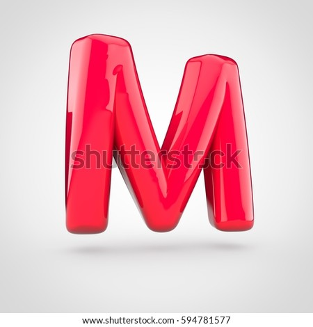 glossy red paint letter m uppercase 3d render of bubble twisted font with glint isolated