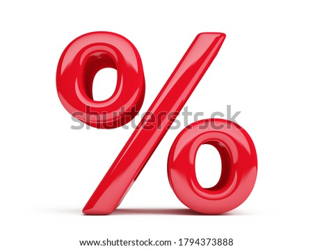Glossy red percent sign isolated on white. Percentage, discount concept. 3d rendering Foto stock ©