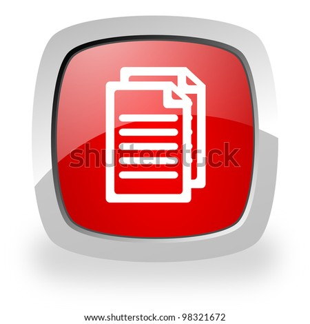 glossy red square icon with shadow on white background