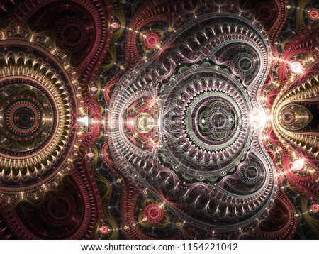 Stock Photo Glossy red steampunk fractal texture, digital artwork for creative graphic design