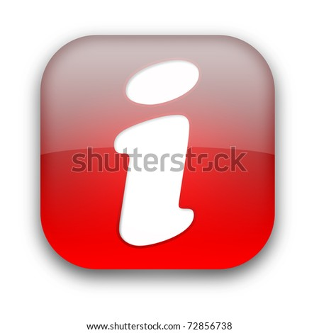 Glossy rounded info button isolated over white background - stock photo