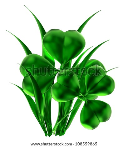 glossy shamrock as international traditional symbol of St. Patrick's day