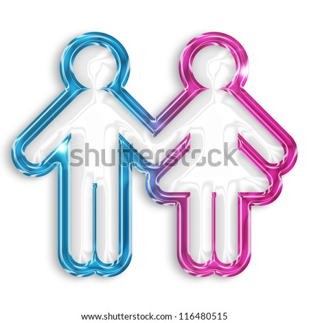 glossy silhouette of boy and girl on white background - stock photo