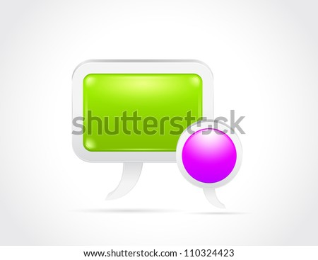 Glossy speech bubble isolated on gray white background