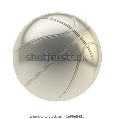Glossy steel metal basketball ball 3d render isolated over white background