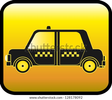 glossy urban button with silhouette cab symbol taxi